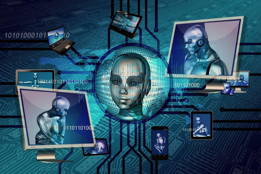 Robôs em várias telas de computadores, passando a ideia de inteligência artificial